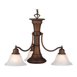Vaxcel - 4 Light Chandelier - Weathered Patina - Brassy 3 light chandelier has a nautical flair.