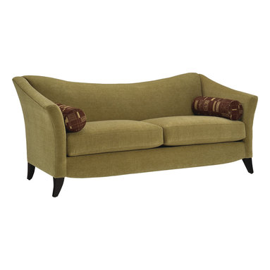 Lazar Industries - Prague II Queen Sleeper Sofa in Reaction Gecko - Prague II Queen Sleeper Sofa is an exquisite model with a unique conclave sloping back, and is adorned with impeccable wooden legs and tailoring all around.