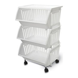 Home Products - Three Tier Mobile Cart, Black by HOMZ - Our HOMZ Three Tier Mobile Cart in White is fully assembled with casters. It is ideal for general storage throughout the home.