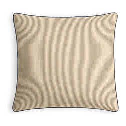 Beige Pinstripe Micro Corded Throw Pillow - Every decorator knows: it's the details that make a room.  That's why we love the Microcord Throw Pillow with a thin piped edge that adds just a hint of color.  We love it in this light tan & ivory woven cotton pinstripe for a preppy classic accent.