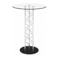 Zuo Modern - Zuo Chardonnay Bar Table - Bar Table belongs to Chardonnay Collection by Zuo Modern Like an architectual tower, the Chardonnay table has a clear tempered glass top with a chromed steel tube center and a black solid steel base plate. The intricate diagonal latticing comes in both bar and dining heights. Bar Table (1)