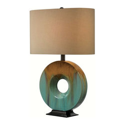 Kenroy - Kenroy KR-32184CG Sesame Table Lamp - A stunning glazed ceramic ring, an artful earthy finish with lots of pop, Sesame is an interior designer's dream. An oval shaped shade allows for closer wall placement.