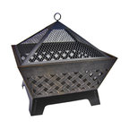 """Landmann - 26"""" Antique Bronze Barrone Fire Pit, Crosshatch Pattern;  Includes Cover - The charm of a roaring fire just got easier with this fire pit. Crafted of sturdy steel with an attractive crosshatch pattern and a pointed grate to keep the embers in check, this fire pit is a stunning addition to your backyard. The handy, built-in grate and matching poker ensure you have everything you need to keep the flames burning while guests enjoy a lively fireside chat."""