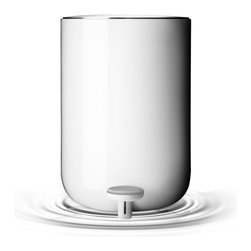 Norm Metal Pedal Trash Bin, White - Beautifully minimalist in form, the Norm pedal trash bin is not only lovely to look at, but also designed to open easily without the lid hitting the wall behind it — a huge plus in my view. It's a civilized answer to keeping your bathroom tidy.