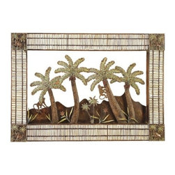 "BZBZ56269 - Island Palm Bamboo N Metal Wall Decor Sculpture 44"" - Island Palm Bamboo N metal wall decor sculpture 44"". Classic steel metal and bamboo piece for any home decor. Catch the new trend in home furnishing. Dimension: Each piece is 29""H x 44""W."