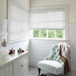 Smith & Noble Luxe Linen Petite Cell Honeycomb Shades - Fabrics with the subtle texture of fine linen filter light elegantly. Semi-sheer and light-filtering fabrics offer moderate privacy. Wrapped fabric, brushed nickel and bronze headrail styles available at no extra charge. Shipped in 5 days. Starting at $87