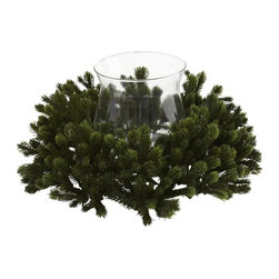 Nearly Natural - Pine Candelabrum - Lush green pine. Pretty glass candle holder. Green color. Vase: 4.75 in. Dia. x 6.25 in. H. Overall: 13 in. Dia. x 6.25 in. HWhat's better than a warm candle burning on a cool night? How about that candle burning in a glass candle holder in the middle of lush, green pine? That's what this beautiful offering entails - a holiday favorite surrounding a decorative candle holder, ready to light your table season after season. And the best part is it'll stay looking fresh season after season as well. An ideal holiday gift.