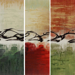 Paragon Decor - Fast Track Set of 3 Artwork - Abstract Gicl�ee on canvas is hand embellished and features gallery style wrap.
