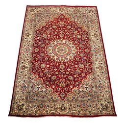 "ALRUG - Handmade Red Persian Kashan Rug 5' 1"" x 8' (ft) - This Pakistani Kashan design rug is hand-knotted with Wool on Cotton."