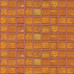 """SICIS - SICIS Water Glass Amber 5/8"""" x 5/8"""" Mosaic - A mosaic that can make entire structures water-like....Transparency is the watchword of the Water Glass Mosaic Collection. On seeing them, the effect is like crystal-clear, bright colored water. Aka Liquid Reflection! But the color isn't the only thing. Imagine the feeling of precious stones running through your fingers. The Water Glass collection through infinite combinations and decorations, can create environments that are intersected by light. Water Glass is formed of lightweight glass 'pixels', cut with mathematical precision and mounted on a mesh following individual, custom-designed chromatic sequences. And all is linked with SICIS' heritage of research and experimentation. State-of-the-art technology, top quality materials and more are behind Water Glass."""
