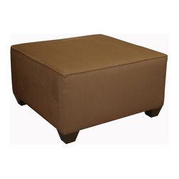 Skyline Furniture - 31 in. Square Cocktail Ottoman - Hand made. Micro suede material. Guarantees product from manufacturer's defects but does not include fabric. One year limited warranty. Made from solid wood. 31 in. L x 31 in. W x 18 in. HThis square cocktail ottoman is a wonderful addition to your living room. It can serve as a coffee table or foot rest. Available in 5 solid colors and 5 patterns. You are sure to find the perfect option for your home.