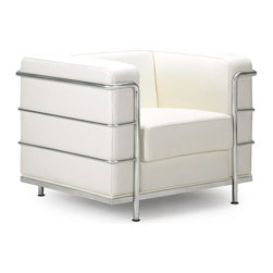 Zuo Modern - Fortress Armchair White - A Mid-Century classic series, the Fortress comes with leather seating, leatherette back and side with a chrome steel tube frame. It comes in black, white or espresso.