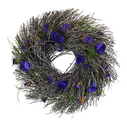 Shea's Wildflowers Company - Lavender Meadow Wreath - Celebrate nature and bring greenery into your space with this realistic arrangement that never has to be watered.   20'' diameter Polysilk / grapevine Imported