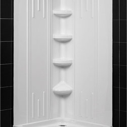 BathAuthority LLC dba Dreamline - SlimLine Quarter Round Shower Tray and Qwall-2 Shower Backwalls Kit - DreamLine combines a SlimLine� shower base with coordinating shower backwall panels to create a convenient kit that can transform a shower space. The SlimLine shower base incorporates a low profile design for a sleek modern look. The wall panels have a tile pattern and are easy to install with a trim-to-size fit. Both the shower panels and shower base are made from durable and attractive Acrylic/ABS advanced materials. DreamLine kits offer an ideal solution for any bathroom renovation project.