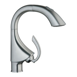 Grohe - Grohe 32 073 SD0 K4 Prep Sink Solid Stainless Steel Dual Spray Pull-Out Kitchen - The Grohe K4 Prep Sink Dual Spray Pull-Out Kitchen Faucet is constructed with Grohe RealSteel Stainless Steel. The Dual Pull-Out Spray Kitchen Faucet control easily allows switching back and forth between regular flow and spray with a 8 1/16-Inch spout reach. The SpeedClean anti-lime system simplifies cleaning and reduces lime build-up.Available finishes: StarLight Chrome - 32 073 000 Infinity SuperSteel - 32 073 DC0 RealSteel Stainless Steel - 32 073 SD0Solid brass body (000 version)