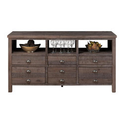 "Jofran - Jofran 067-60 60 Inch Console with 6-Drawer & Wire Rough Hewn Finish - Assembled - This 60"" dining room console will work as a decorative server creating a casual statement in dining rooms and kitchens. Crafted to reflect an urban style with a new traditional feel, this piece features six storage drawers for tucking away serving items and open compartments at the top for easy to reach storage or decorative display. Pair this piece with its coordinating table and chair set for a complete display."