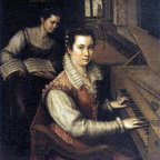"""Lavinia Fontana Self-Portrait at the Spinet - 16"""" x 20"""" Premium Archival Print - 16"""" x 20"""" Lavinia Fontana Self-Portrait at the Spinet premium archival print reproduced to meet museum quality standards. Our museum quality archival prints are produced using high-precision print technology for a more accurate reproduction printed on high quality, heavyweight matte presentation paper with fade-resistant, archival inks. Our progressive business model allows us to offer works of art to you at the best wholesale pricing, significantly less than art gallery prices, affordable to all. This line of artwork is produced with extra white border space (if you choose to have it framed, for your framer to work with to frame properly or utilize a larger mat and/or frame).  We present a comprehensive collection of exceptional art reproductions byLavinia Fontana."""