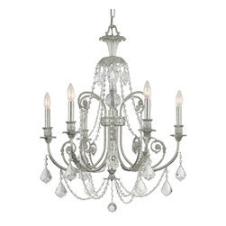 Crystorama - Crystorama Regis 1 Tier Chandelier in Olde Silver - Shown in picture: Clear Swarovski Elements Crystal Wrought Iron Chandelier; The European inspired traditional design from Crystorama's Regis Collection has been a best selling family for decades. The new Olde Silver finish dressed in our classic clear crystal is a perfect match for any traditional setting.