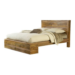Modus Furniture - Modus Atria Platform Bed in Natural Sheesham-Queen - Modus Furniture - Beds - 5C40P5 - The Atria bedroom collection is a testament to the beauty of handcraftsmanship. Thick planks of solid lumber are hewn and planted by skilled artisans then hand-sanded and hand-finished to create furniture that is truly built to last. Every piece of the Atria collection is one of a kind with a different and distinctively beautiful plainsawn grain pattern that radiates a refreshing contrast between heartwood and sapwood shaped over time by the forces of nature. Also known as Indian rosewood Sheesham is an extremely dense hardwood sourced from sustainable government managed plantations. The Atria bedroom uses clean linear styling lightly finished to showcase the wood natural variations in knots grain texture and color. The platform bed is outfitted with a large framed headboard panel and a wide platform base to match the natural weight of the lumber. Subtle differences in the rosy wood grain will pick up matching white and brown tones throughout your bedroom. Crafted entirely from solid lumber the Atria bedroom uses an all-Sheesham exterior with Acacia drawer boxes and mattress support system. Drawers are mounted on full extension ball bearing glides for smooth efficient operation. With its premium materials timeless design and quality craftsmanship the Atria bedroom is a product that will last for generations.
