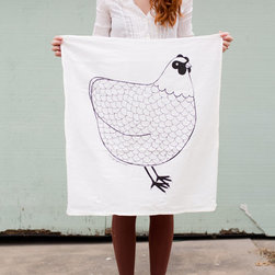 Chicken Tea Towel by Gingiber - This black and white tea towel manages to make a chicken motif fresh and modern. A set would make a lovely hostess gift.