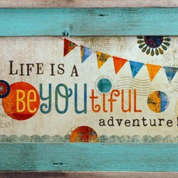MyBarnwoodFrames - Life is a BeYoutiful Adventure Art Print in Rustic Wood Frame, 14x23 - Life is a BeYOUtiful Adventure Framed Print by Mollie B. This rectangular print features delightful lettering and a colorful pennant banner. Inner face of the reclaimed wood frame is painted in a turquoise wash with an unpainted, natural barnwood border around the outside edge of the frame. You'll smile every time you wake up to this happy thought--life is indeed beYOUtiful.