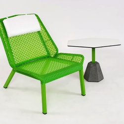 Modern Outdoor Lounge Chair - Lebello Furniture - 4L Lounger by Lebello is an outdoor reclined chair with a frame architecture based on the 4L chair series. The design features sectional criss cross weaved panels that permit more air circulations around the seat surface.