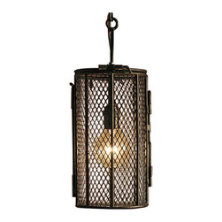 Kathy Kuo Home - Lehni Industrial Loft Black Mesh Basket Lantern Pendant - Muted mesh dye baskets make inventive, beautiful pendant lights. Blackened iron lends a rustic vibe surrounding a single bulb. Six inch chain allows flexible length for this handsome, hanging fixture.