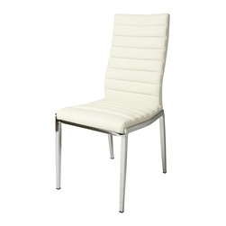 Pastel Furniture - Pastel Furniture Trinity Side Chair X-879-HC-011-IT - The Trinity side chair exemplifies handsome proportions and bold design. With simple lines mixed with curves for comfort, this beautiful chair adds style and elegance to the dining experience. The chair is upholstered in Pu Ivory with a Chrome leg.