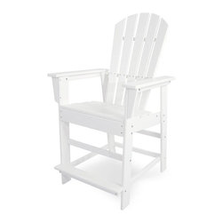 Polywood - Eco-friendly Counter Chair in White - A little extra height and a comfortable footrest make this counter chair stand out in a crowd. Want to turn your outdoor living space into the hottest spot in the neighborhood? Its easy with the South Beach Collection. Just like the popular Miami Beach scene, You'll enjoy an eclectic blend of bold art deco along with the relaxed comfort and style that you've come to expect from traditional Adirondack furniture. This collection not only looks amazing, but its also built to last for years to come. Provides the look of painted wood without the maintenance