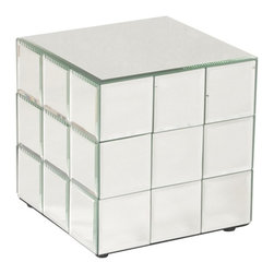 Howard Elliott - Howard Elliott Antares Short Mirrored Puzzle Cube Pedestal - A short pedestal fashioned by a grid of square beveled mirror panels reminiscent of a puzzle cube.