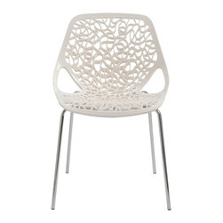 Euro Style - Euro Style Lovie Side Chair Set of 2 01175WHT - Hector Guimard designed utilitarian Parisian metro stops that resemble living vines and lush gardens. The Lovie chair reminds us of that remarkable achievement. Giving fancy organic shape to a chair is a welcome amusement and a brave choice in design.