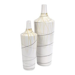 Curasso Retro Finish Vases - 18H in. - Set of 2 - The Curasso Retro Finish Vases - 18H in. - Set of 2 wouldn't be out of place in a modern art gallery - and now they're all yours. Super-slender lines of yellow and gray over a white base create a look that won't just draw the eye - it'll downright turn heads. Made of ceramic.About IMAXWhat began as a small company importing copper flower containers in 1984 by Al and Faye Bulak has developed into one of the top U.S. import companies serving the At Home market today. IMAX now provides home and garden accessories imported from twelve countries around the world, housed in a 500,000 square foot distribution center. Additional sourcing, product development and showroom facilities in the USA, India and China make IMAX a true global source. They're dedicated to providing products designed to meet your needs. This is achieved through a design and product development team that pushes creativity, taste and fashion trends - layering styles, periods, textures, and regions of the world - to create a visually delightful and meaningful environment. At IMAX, they believe style, integrity, and great design can make living easier.