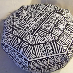 Ottoman Pouf, Tribal Design by Maria Vargas Designs - I adore the mud cloth look of this one, and the black and white pattern would mix well with almost any color palette.