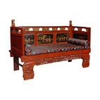 Chinese Daybed - This one of a kind antique Chinese daybed is so full of exquisite detail it will effortlessly captivate anyone in your home. From the elaborate carvings on the legs and base to the lovely painting on the backboard to the silk cushions, this highly unique piece will grace your home with the utmost refinement.