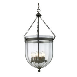 Z-Lite - Z-Lite Warwick Pendant Light X-43-041 - For a traditional yet versatile look, this six light chandelier would be perfect for adding elegance to any space. The sculpted circular glass shades are suspended from a circular iron band, finished in bronze. Inside the shade are suspended candelabra lights, adding the finishing touch on an elegant fixture.