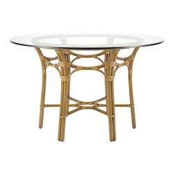 "Selamat - Selamat Taylor 48"" Dining Table Base with Glass Top-Nutmeg - Inspired by Japanese gothic details, make up elements of the Taylor Dining Table. Accommodate up to six people and serve a range of more intimate dining needs. Leather wrapped rattan pole with 1/2"" thick onset tempered glass top."