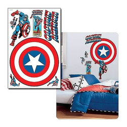 "KOOLEKOO - Captain America Vintage Shield Wall Decal - This vintage style Captain America shield decal was designed with comic fans in mind! Measuring 25 1/2-inches wide, this huge wall sticker is a great way to bring your favorite comic book super hero into any bedroom, recreation room, or ""mancave."" Application is easy: just peel the pre-cut decal from the liner and smooth it out on the wall (or any other flat surface). You can remove and reposition it as often as you please without ever damaging the surface or leaving behind any sticky residue. It is even washable! Includes a total of 7 wall decals. Order yours today!"