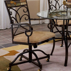 Hillsdale - Mosaic Dining Chair with Casters - Set of 2 - The style and grace of this pair of Mosaic Dining Chairs is evident in the metal swirl frame, mosaic back trim and comfortable cushioned seat. As an added bonus, you're mobile! The chairs have casters and arm rests. These lovely dining room chairs will add a touch of class and comfort to your dining area. Gently curved arms, a padded buckskin seat, and wheels make for easy movement and luxury. * For residential use. The style and grace of this pair of Mosaic Dining Chairs. Metal swirl frame, mosaic back trim and comfortable cushioned seat.. As an added bonus, you're mobile! The chairs have casters &arm rests.. Black gold / slate mosaic finish. Sold in Set of 2 Chairs.. 40H x 25.5D x 18.5W