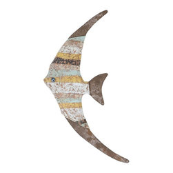 Benzara - Wood Fish Wall Decor with Beautiful Fish Styled Design - Perfect for casual setups, this Wood Fish Wall Decor adds a charming look to settings with its attractive design. This wall decor piece is crafted from premium grade wood to offer long-lasting performance and ease of use. This decorative item is a perfect gifting item for your near and dear ones. The lightweight design of this wall decor piece allows hassle-free installation with hooks or nails. Designed like a fish, this wall decor piece features a weathered finish for a vintage, old-world look. Striped detailing in a multicolored pattern augments the visual appeal of this decor piece and adds a touch of color to interiors to enhance their visual appeal. With its lightweight design this wall decor piece allows for hassle-free installation anywhere at home.
