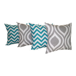Land of Pillows - Premier Prints Zig Zag Turquoise and Emily Storm Gray Throw Pillow - Set of 4, 1 - Fabric Designer - Premier Prints