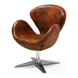 Great Deal Furniture - Louis Modern Petal Design Aged Brown Microfiber Swivel Accent Arm Chair - A bit unusual — but oh so cool. This sleek modern swivel chair features a stainless steel frame and plush brown microfiber cover. Every time you take a seat, you'll be enveloped by this uniquely designed chair.