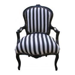 Lansky Studio - Lauren French Louis XV Style Black & White Armchair - A fabulous French Louis XV style armchair.