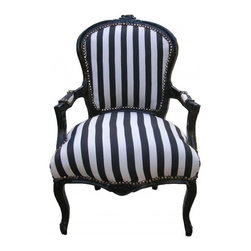 Lansky Studio - Lauren French Louis XV–Style Black/White Armchair - A fabulous French Louis XV style armchair.