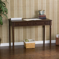 Upton Home - Espresso Two Drawer Writing Desk - Add a stylish touch to your living area with this functional espresso writing desk. Featuring an Asian hardwood and MDF construction with an espresso finish, this desk promises quality and durability. The two drawers are ideal for discreet storage.