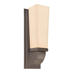 """Sonneman - Bronze Classico 1 Light CFL Wall Sconce with Etched Glass Shade - Classico Single Light Up Lighting 15.5"""" Wall Sconce."""