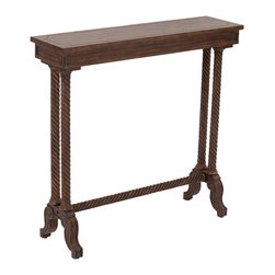 Ambella Home - Lansford Console Table - If you're pushed for space and want a table that can perform, this narrow console table would look elegant in any entryway. A few candles, a statue of Don Quixote and you're good to go!
