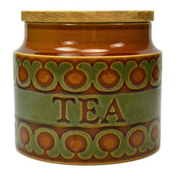 Lavish Shoestring - Consigned Ceramic Tea Bags Kitchen Storage Jar by Hornsea, Vintage English, 1970 - This is a vintage one-of-a-kind item.