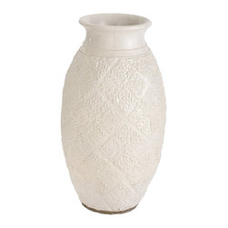 Lazy Susan - Lazy Susan 223050 Milk Trellis Pot - Large - A milk white glaze is hand-applied to this classic urn, crafted from terra-cotta. Its floral motif will underscore a bouquet of fresh or dried flowers, or go bold and use it to hold peacock feathers or another exotic design element.