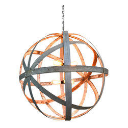 "Wine Country Craftsman - Double Triple Light Atom Chandelier - ""Colossus"" - I took one of our best selling ring globes, gave it a double cross pattern, and added in 2 triple sight sockets to give tons of beautiful light."
