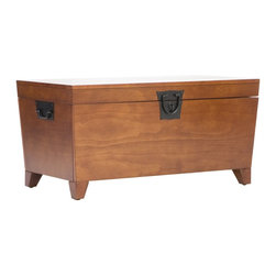 "Holly & Martin - Holly & Martin Dorset Trunk Cocktail Table-Oak X-52-5-510-880-10 - Attractive and practical, this unique trunk table provides convenient storage possibilities for any room. Perfect as a cocktail table, this trunk is finished with a warm mission oak stain and metal hardware. Reminiscent of an antique storage chest, the understated styling creates a transitional accent table that blends with any home d&#233:cor.  - FEATURES:                                                                                             - Lid opens for ample storage                                                                           - Black metal hardware                                                                                  - Mission oak finish                                                                                    - PRODUCT SPECIFICATIONS:                                                                               - Tabletop: 37.5"" W x 20.25"" D                                                                          - Interior storage: 34.25"" W x 17"" D x 11.5"" H (plus 2.25"" H in lid)                                    - Clearance: 31"" W x 13.5"" D x 2.75"" H                                                                  - Approx. weight: 61 lb.                                                                                - Supports up to: 80 lb. (top), 100 lb. (interior storage)                                              - Materials: pine, MDF, pine veneer, metal                                                              - Assembly required                                                                                     - Overall: 38.75"" W x 21.25"" D x 18.75"" H"